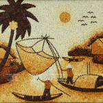 Typical scenery. Rice grain painting by Ngoc Linh art studio, Ho Chi Minh City, Vietnam