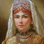 Portrait of a Russian Beauty in a folk costume