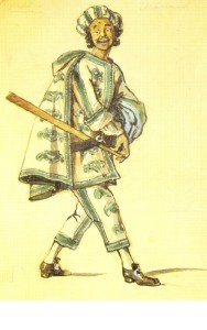 Truffaldino in Goldoni's The Servant of Two Masters (Petrograd, Bolshoi Drama Theater). Costume design by Alexander Benois. 1920. Watercolor on paper. Dobychin collection. St. Petersburg