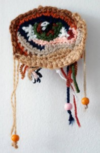 An eye. Crochet painting