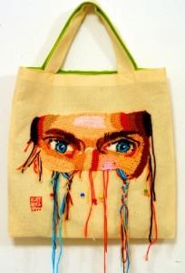 Textile bag decorated with Crochet. Art by Ekaterina Penzina