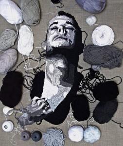 2014 creation – Soul. Work in progress. Male portrait. Crochet art by Ekaterina Penzina