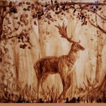 Deer. Coffee and water on heavy watercolor paper. Painting by Moscow based artist Julia Latte