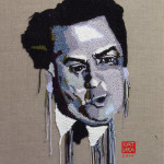 Federico Fellini Crochet portrait on canvas