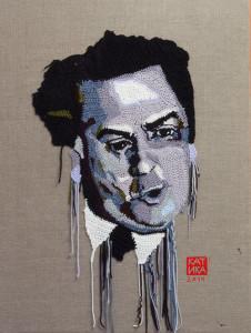 Federico Fellini Crochet portrait on canvas