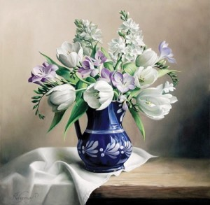 Tulips in a vase. Still life painting by Pieter Wagemans