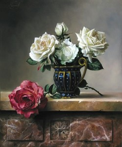 Red and white roses. Still life painting by Pieter Wagemans