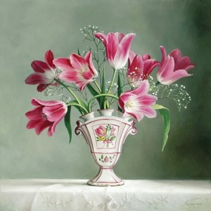 Pink Flowers. Still life painting by Pieter Wagemans