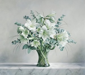 White Flowers. Still life painting by Pieter Wagemans