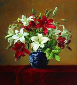 Lilies in a blue vase. Still life painting by Pieter Wagemans