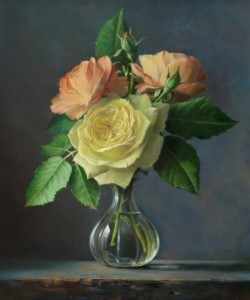 Three white roses. Still life painting by Pieter Wagemans