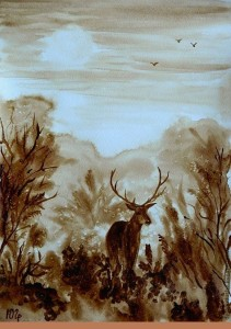 Forest Ghost, coffee and water on heavy watercolor paper. Painting by Russian artist Julia Latte