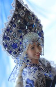 One-of-a-kind Gzhel style doll Alyonushka
