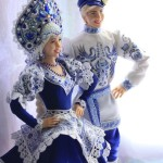 Made in Gzhel style dolls – Alyonushka and Ivanushka