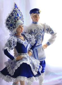 Made in Gzhel style dolls – Alyonushka and Ivanushka