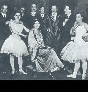 Ida Rubinstein (seated center), Michel Fokine, Leon Bakst, and Olga Preobrajenska (standing at right) with latin singers at La scala, Milan. 1910s