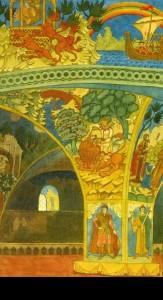 I. Bilibin. The Chambers of the Novgorod Fraternity. Set design for scene 1 of Rimsky-Korsakov's Sadko (detail)