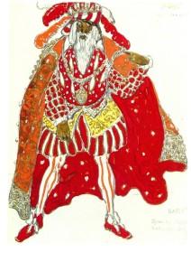 Richard Strauss' Le Legende de Joseph (Diaghilev Company). Costume design by Leon Bakst. 1914. Watercolor, pencil and gold paint. Russian museum, St. Petersburg