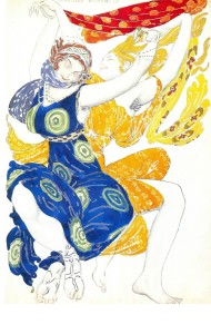 Leon Bakst. Costume design for the Bœotian girls in Tcherepnin's ballet Narcisse (Diaghilev Company). 1911. Watercolor and lead pencil on paper. Theater Museum, St. Petersburg