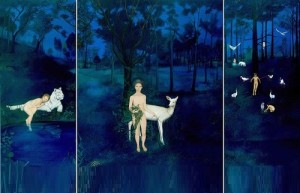 Let Me Remain Cryptic, 2005-06. Cosmic Order (Left), Allegory (Middle), Keeping the Great Secret (Right). Painting by Norma Bessouet
