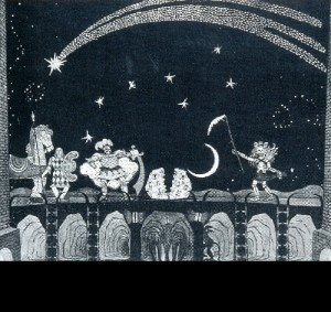 Prologue to Remizov's mystery-play A Devilish Act on a Certain Husband and also Life's Disputes with Death (St. Petersburg, Vera Komissarzhevskaya's Theater). 1907. Set design by Mstislav Dobuzhinsky