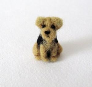 Welsh Terrier. Needle felted miniature by Krasnodar based artist Vera Megorskaya
