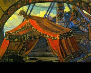 Tristan's ship. Set design for Act 1 of Wagner's Tristan and Izolda (Moscow, Zimin's Opera House), 1912. Nicholas Roerich. Gouache on cardboard. Bakhrushin Theater Museum, Moscow