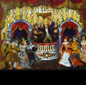 Nikolai Sapunov. The Ball. Set design for Act 2 of Schnitzler's The Scarf of Columbine (St. Petersburg, House of Interludes), 1910. Tempera on cardboard. Picture Gallery of Armenia, Yerevan