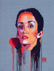 Salma Hayek. 2014 Crochet portrait on canvas