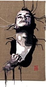 Soul. Crochet portrait on canvas