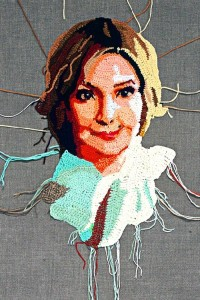 Tatyana. Crochet portrait on canvas
