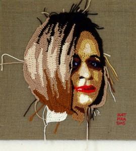 Valya. Crochet portrait on canvas. 2015