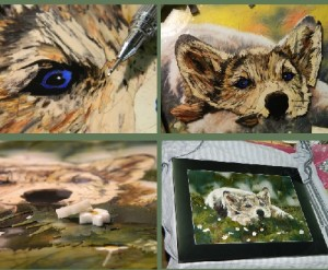 Work in progress, creating wolf mosaic painting