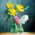 Daffodils and lilacs. Still life painting by Pieter Wageman