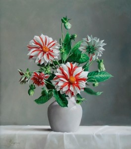 Dahilias. Still life painting by Pieter Wagemans