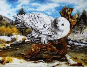 Arctic owl. Kaliningrad Amber painting, Russia