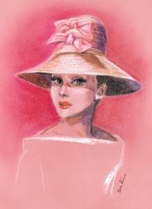 Pink Hat. Audrey Hepburn. Pastel. Soo Kim pencil drawings