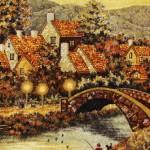Bridge. Kaliningrad Amber painting