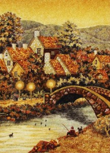Bridge. Kaliningrad Amber painting