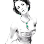 Elizabeth Taylor Wearing Emerald Jewels. Charcoal Pencil drawing