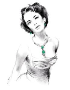 Elizabeth Taylor Wearing Emerald Jewels. Charcoal Pencil drawing