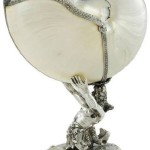 Continental silver mounted Nautilus shell cup, unmarked, 20th century