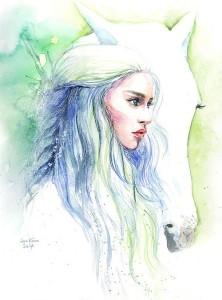 Game of Thrones Daenerys Targaryen with Horse. Soo Kim pencil drawings