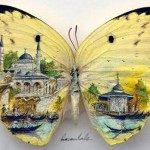 Images of Istanbul – micro painting on butterfly wings