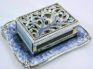 Decorated with beads Matchbox holder Art