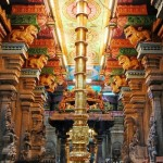Each pillar decorated with carvings and sculptures. Meenakshi Amman Temple in India