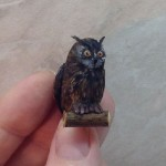 Wise owl, handmade miniature toy by Victoria Chernysheva
