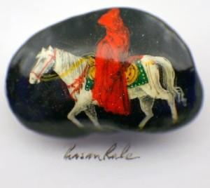 Beautiful white horse painted on grain, artist Hasan Kale