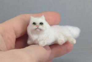 White Persian cat, handmade miniature toy by Victoria Chernysheva