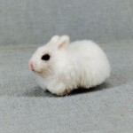 White rabbit, handmade miniature toy by Victoria Chernysheva